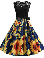 cheap -Women's Party Daily Active Cute Swing Dress - Print Patchwork Print Black S M L XL