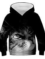 cheap -Kids Boys' Basic Street chic Color Block 3D Animal Print Long Sleeve Hoodie & Sweatshirt Black