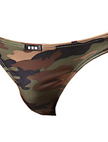 cheap -Men's Basic Briefs Underwear - Normal Low Waist Army Green M L XL