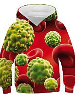 cheap -Kids Boys' Basic Street chic Color Block 3D Print Long Sleeve Hoodie & Sweatshirt Red