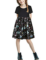 cheap -Kids Girls' Basic Cute Solid Colored Animal Patchwork Print Short Sleeve Above Knee Dress Black