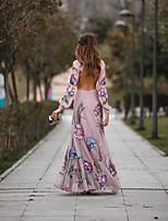 cheap -Women's Swing Dress - Geometric Blushing Maxi Pink S M L XL
