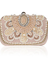 cheap -Women's Crystals / Chain Polyester / Alloy Evening Bag Floral Print Black / Champagne / Beige