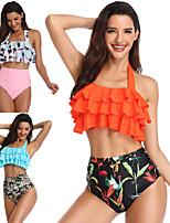 cheap -Women's Audrey Hepburn Marilyn Monroe Vintage 1950s Bikini Swimsuit Monokini Polyster Printing Blushing Pink Orange Top Shorts