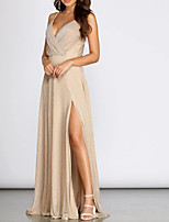 cheap -A-Line V Neck Floor Length Polyester Sparkle / Sexy Prom / Formal Evening Dress with Pleats / Split 2020