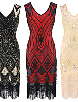 cheap -The Great Gatsby Vintage 1920s Flapper Dress Dress Party Costume Women's Sequin Costume Golden / Silver / Red Vintage Cosplay Party Sleeveless