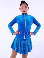 cheap -Figure Skating Fleece Jacket Figure Skating Dress Girls' Ice Skating Skirt Top Black Fuchsia Blue Fleece Spandex High Elasticity Training Competition Skating Wear Crystal / Rhinestone Long Sleeve Ice