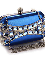 cheap -Women's Crystals / Chain Polyester Evening Bag Color Block Black / Silver / Blue