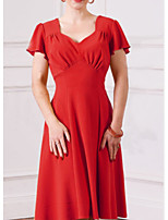 cheap -A-Line V Neck Knee Length Polyester Minimalist / Red Cocktail Party / Holiday Dress with Pleats 2020