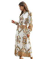 cheap -Women's Street chic Shirt Dress - Maxi Print Print White S M L XL