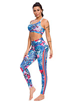cheap -Women's Yoga Suit Winter 3D Print Red+Blue Elastane Yoga Fitness Gym Workout Pants / Trousers Bra Top Sleeveless Sport Activewear Breathable Quick Dry Tummy Control Stretchy