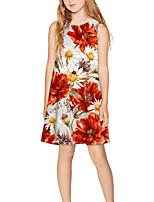 cheap -Kids Girls' Basic Cute Floral Print Sleeveless Above Knee Dress Rainbow