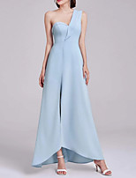 cheap -A-Line One Shoulder Asymmetrical Chiffon Sexy / Blue Formal Evening / Holiday Dress with Split 2020
