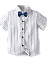 cheap -Kids Boys' Basic Striped Short Sleeve Shirt White
