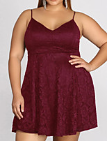cheap -A-Line V Neck Short / Mini Polyester Plus Size / Red Cocktail Party / Homecoming Dress with Pleats 2020