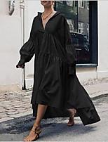 cheap -Women's Shift Dress - Solid Color Maxi Black Navy Blue S M L XL