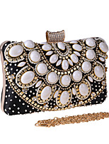 cheap -Women's Crystals / Chain Polyester Evening Bag Color Block Black / Almond