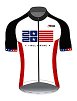 cheap -21Grams Men's Short Sleeve Cycling Jersey 100% Polyester Red and White Bike Jersey Top Mountain Bike MTB Road Bike Cycling UV Resistant Breathable Quick Dry Sports Clothing Apparel / Stretchy
