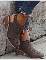 cheap -Women's Sandals Chunky Heel Round Toe PU Summer Black / Orange / Blue