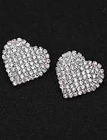 cheap -Women's Stud Earrings Earrings Sweet Heart Simple Elegant Fashion Sweet Imitation Diamond Earrings Jewelry Silver For Wedding Anniversary Gift Engagement Date 1 Pair