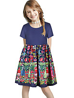 cheap -Kids Girls' Basic Cute Sun Flower Floral Color Block Patchwork Print Short Sleeve Knee-length Dress Blue
