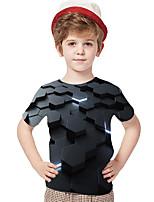 cheap -Kids Toddler Boys' Active Basic Rubik's Cube Geometric Color Block 3D Print Short Sleeve Tee Gray