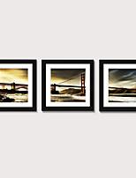 Недорогие -обрамленный художественный принт обрамленный набор 3 - пейзажный мост живописный ps иллюстрация wall art