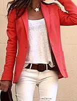 cheap -Women's Blazer, Solid Colored Notch Lapel Polyester Black / White / Blushing Pink