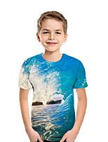 cheap -Kids Boys' Active Street chic Geometric 3D Patchwork Print Short Sleeve Tee Blue
