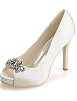 cheap -Women's Wedding Shoes Stiletto Heel Peep Toe Rhinestone Satin Sweet Spring & Summer White / Purple / Red / Party & Evening