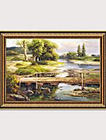 Недорогие -Картина маслом на деревенской стороне картины маслом с деревянной рамкой старинные антикварные стены картина