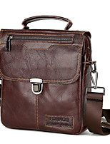 cheap -Men's Zipper Nylon Top Handle Bag Solid Color Dark Brown