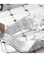cheap -Women's Wedding Shoes Stiletto Heel Open Toe Synthetics Summer White
