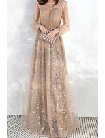 cheap -A-Line Jewel Neck Floor Length Lace / Satin / Tulle Elegant / Empire Prom / Party Wear Dress with Sequin / Pleats 2020 / Illusion Sleeve