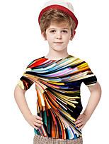 cheap -Kids Toddler Boys' Active Basic Rubik's Cube Geometric 3D Rainbow Print Short Sleeve Tee Rainbow