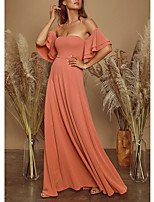 cheap -A-Line Off Shoulder Floor Length Spandex Elegant / Empire Prom / Holiday Dress with Pleats 2020