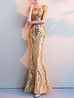 cheap -Mermaid / Trumpet Jewel Neck Floor Length Polyester Sparkle / Gold Formal Evening / Party Wear Dress with Sequin 2020