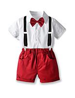 Недорогие -Дети Дети (1-4 лет) Мальчики Классический День рождения Для вечеринки / ужина Однотонный С короткими рукавами Обычный Обычная Набор одежды Красный