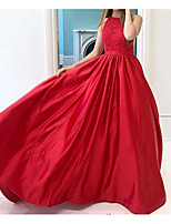 cheap -A-Line Jewel Neck Floor Length Lace Minimalist / Red Wedding Guest / Engagement Dress with Sleek / Pleats 2020