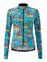 cheap -21Grams Women's Long Sleeve Cycling Jersey 100% Polyester Blue+Orange Animal Floral Botanical Tiger Bike Jersey Top Mountain Bike MTB Road Bike Cycling UV Resistant Breathable Quick Dry Sports