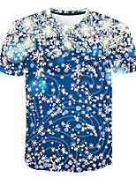 Недорогие -Дети Мальчики Классический Уличный стиль Контрастных цветов 3D Радужный С принтом С короткими рукавами Футболка Светло-синий