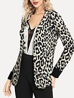 cheap -Women's Blazer, Leopard Notch Lapel Polyester Khaki