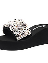 cheap -Women's Slippers & Flip-Flops Wedge Heel Open Toe Imitation Pearl Polyester Classic / Chinoiserie Walking Shoes Summer Black / Pink / Color Block