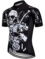 cheap -21Grams Men's Short Sleeve Cycling Jersey 100% Polyester Black Skull Bike Jersey Top Mountain Bike MTB Road Bike Cycling UV Resistant Breathable Quick Dry Sports Clothing Apparel / Stretchy