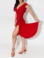 cheap -Latin Dance Club Costume Women's Performance Polyester Taffeta Pleats / Ruffles / Split Sleeveless Dress