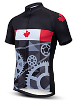 cheap -21Grams Men's Short Sleeve Cycling Jersey 100% Polyester Black Dark Grey Gray+White Stripes American / USA Italy Bike Jersey Top Mountain Bike MTB Road Bike Cycling UV Resistant Breathable Quick Dry