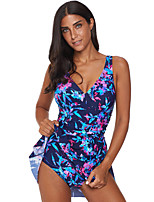 cheap -Women's One Piece Swimsuit Elastane Swimwear UV Sun Protection Breathable Quick Dry Sleeveless Swimming Water Sports Floral / Botanical Summer / High Elasticity