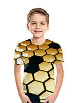 Недорогие -Дети Мальчики Активный Уличный стиль Геометрический принт Контрастных цветов 3D С короткими рукавами Футболка Желтый