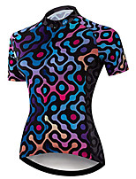 cheap -21Grams Women's Short Sleeve Cycling Jersey 100% Polyester Red+Blue Bike Jersey Top Mountain Bike MTB Road Bike Cycling UV Resistant Breathable Quick Dry Sports Clothing Apparel / Stretchy / Race Fit