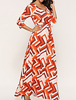 cheap -Women's A Line Dress - Striped Maxi Orange S M L XL